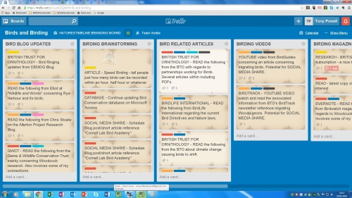 Trello Naturestimeline Birds and Birding Board screen grab example